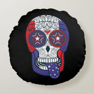 American Flag USA Colors Patriotic Sugar Skull Round Pillow
