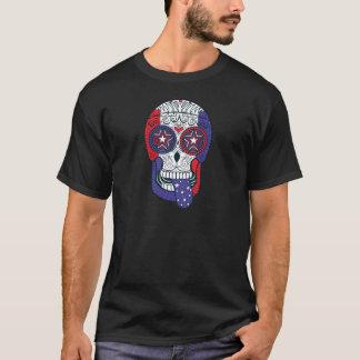 American Flag USA Colors Patriotic Sugar Skull T-Shirt