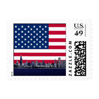 American Flag USA Flag Chicago Skyline #3 small Postage