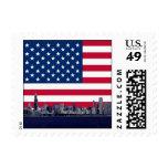 American Flag USA Flag Chicago Skyline #3 small Stamps