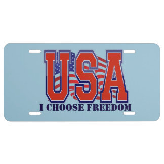 American Flag USA I Choose Freedom Patriotic License Plate