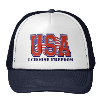American Flag USA I Choose Freedom Patriotic Trucker Hat