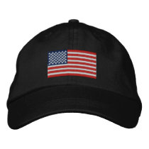 American Flag USA Large Embroidery Real Stars! Embroidered Baseball Cap
