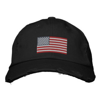 American Flag USA Large Embroidery Real Stars! Embroidered Baseball Hat