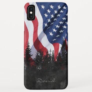 American Flag USA Military Army Custom Name iPhone XS Max Case
