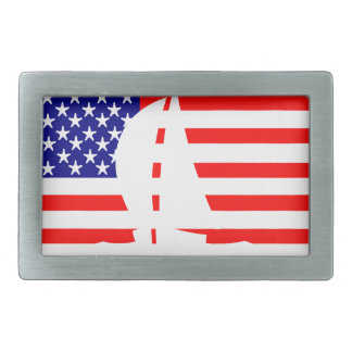 American Flag USA Nautical Sailing Yacht Rectangular Belt Buckle