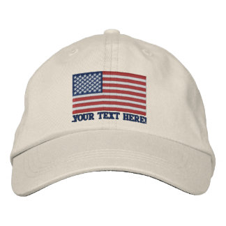 American Flag USA Personalize it! Large Embroidery Embroidered Baseball Hat