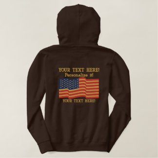 American Flag USA Personalize it! Large Embroidery Embroidered Hoodie