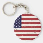 American Flag, USA/US Basic Round Button Keychain