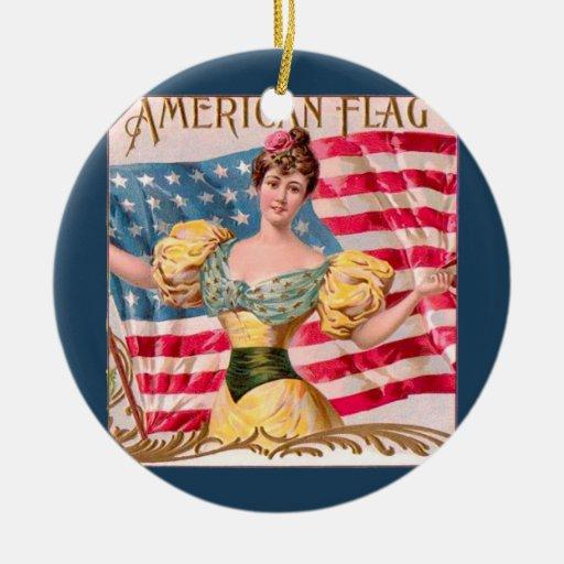 American Flag Vintage Advertising Ornaments