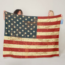 American Flag Vintage Distressed Fleece Blanket