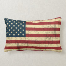 American Flag Vintage Distressed Lumbar Pillow
