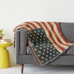 American Flag Vintage Distressed Throw