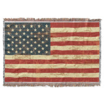 American Flag Vintage Distressed Throw