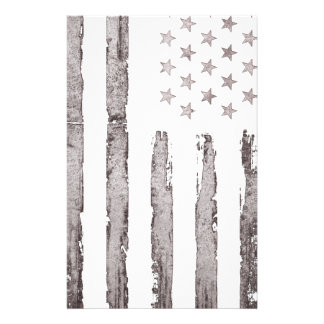 American flag Vintage Grey Stationery