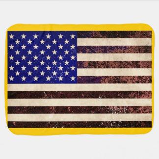 American Flag Vintage Grunge Receiving Blanket