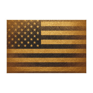 American Flag Vintage Leather #2 Canvas Print