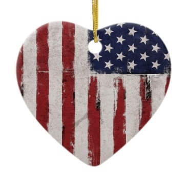 American flag Vintage Patriot Ceramic Ornament