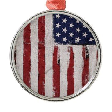 American flag Vintage Patriot Metal Ornament