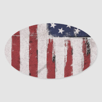 American flag Vintage Patriot Oval Sticker