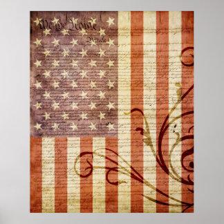 American Flag Vintage Poster