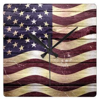 American Flag Vintage Wood Wall Clocks