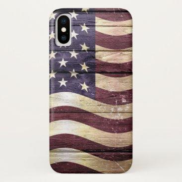 American Flag Vintage Wood iPhone X Case