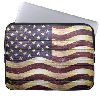 American Flag Vintage Wood Laptop Sleeves