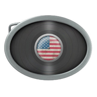 American Flag Vinyl Record Album Graphic Oval Belt Buckles