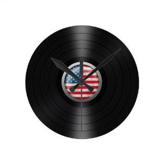 American Flag Vinyl Record Album Graphic Round Clock