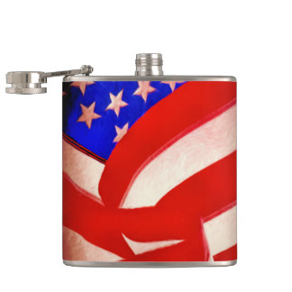 American Flag Vinyl Wrapped Flask, 6 oz. Flask
