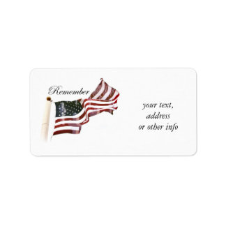 American Flag w/ Crosses - Remember The Fallen Address Label