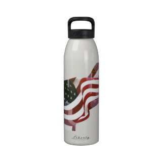 American Flag w Crosses Drinking Bottles