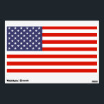 "American flag wall art decal for 4th of July party<br><div class=""desc"">American flag wall art decal for 4th of July / independance day party. Patriotic wall art decoration for bedroom, office, study, student dorm, kids room, party, travel company, festival, event, business company office etc. Country flag design with stars and stripes. Custom decorations. Removable sticker. USA pride. Small medium and large...</div>"