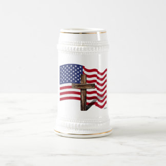 American Flag Waving and Rugged Cross Beer Stein