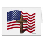 American Flag Waving and Rugged Cross Greeting Card