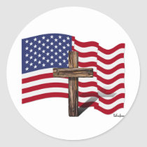 American Flag Waving and Rugged Cross Classic Round Sticker