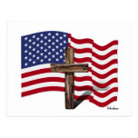 American Flag Waving and Rugged Cross Postcard