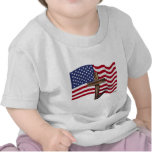 American Flag Waving and Rugged Cross T Shirt