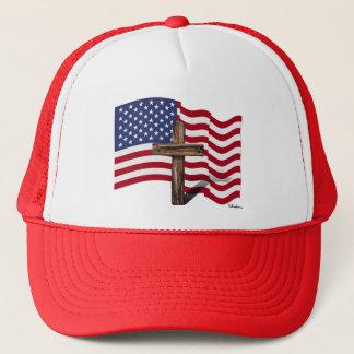 American Flag Waving and Rugged Cross Trucker Hat