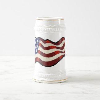 American Flag Waving Beer Stein 18 Oz Beer Stein