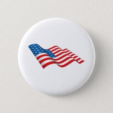 American Flag waving Button