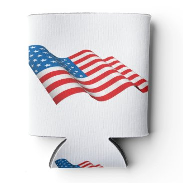 American Flag waving Can Cooler
