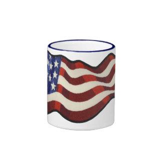 American Flag Waving Coffee Mug