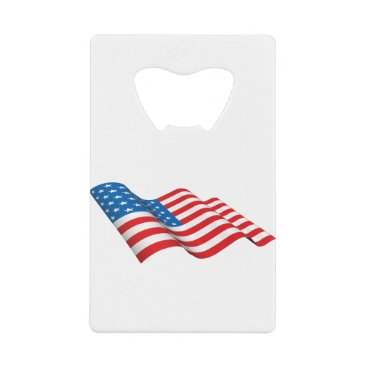 American Flag waving Credit Card Bottle Opener