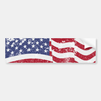 American Flag Waving - Distressed Car Bumper Sticker