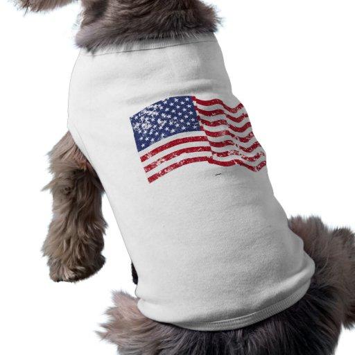 American Flag Waving - Distressed Doggie Shirt