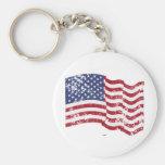American Flag Waving - Distressed Keychains