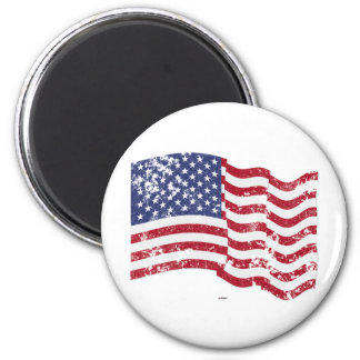 American Flag Waving - Distressed Refrigerator Magnets
