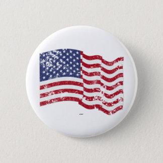 American Flag Waving - Distressed Pinback Button